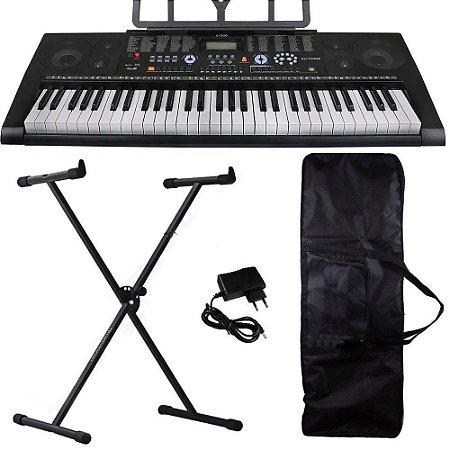 Kit Teclado Musical Profissional KeyPower Kep300 usb suporte
