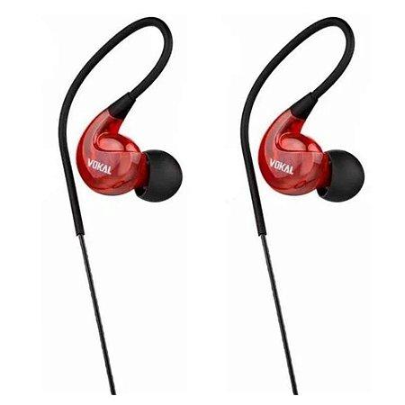 Fone De Ouvido Vokal E20 In Ear Retorno Monitor Vermelho