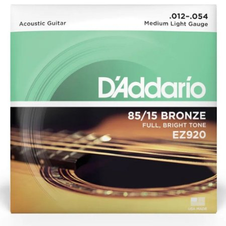 Encordoamento Daddario Violão Aço 012 EZ920 Bronze 85/15