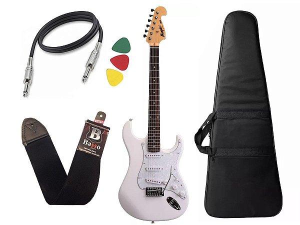 Guitarra mod fender Tagima Memphis Mg32 Branco capa Cabo