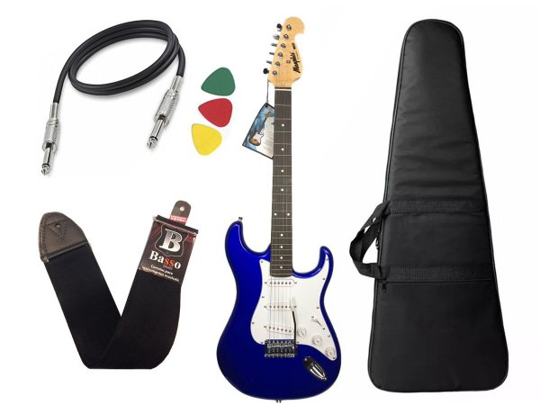 Guitarra Tagima Memphis Mg32 azul metalico capa cabo