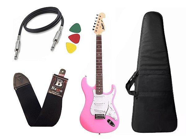Guitarra  Tagima Memphis Mg32 Rosa Pink Capa cabo correia