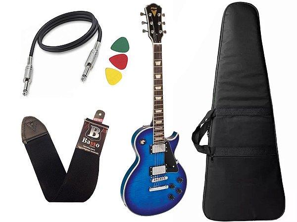Guitarra Les Paul PHX LP5 Cor Azul + Capa Cabo