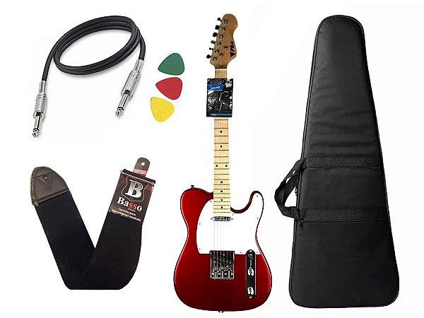 Kit Guitarra telecaster phx tl1 vermelho capa alça cabo