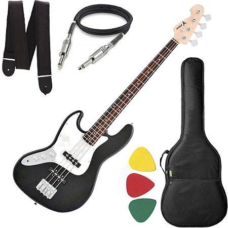 baixo 4 Cordas Canhoto Phx Jb4 Jazz Bass Preto com Capa Cabo e Alça