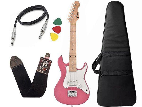 Kit Guitarra Criança Infantil Eletrica Phx Isth 1/2 Rosa Bag