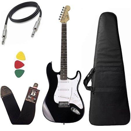 Kit Guitarra Tonante Strato Muriels Deep Dark Preta Capa