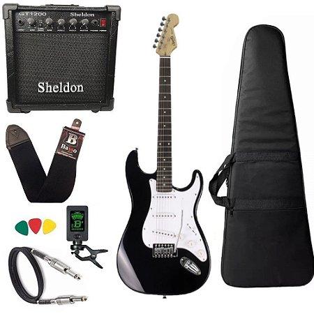 Kit Guitarra Tonante Strato Muriels Preta Amplificador
