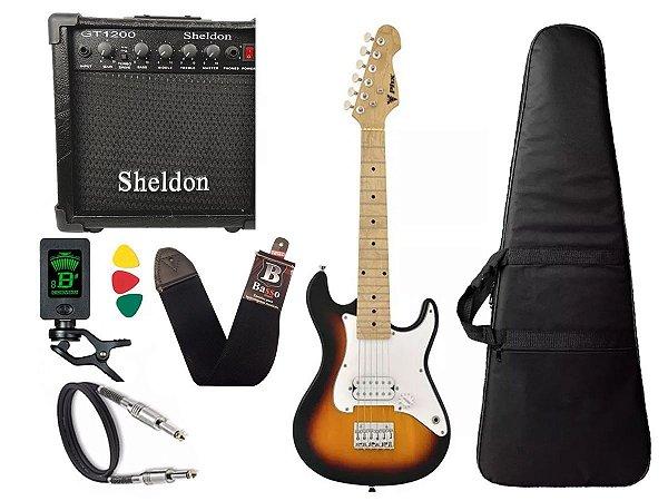 Kit Guitarra Eletrica Criança Infantil Caixa Amplificador Sunburst Sh