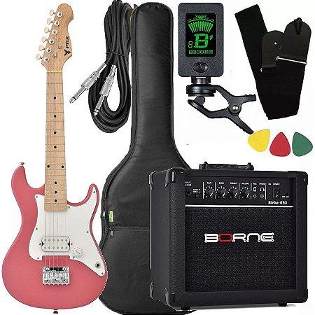 Kit Guitarra Criança Infantil Phx Isth Rosa 1/2 caixa borne