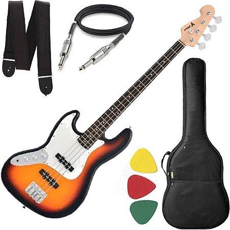 Baixo 4 Cordas Canhoto Phx Jb4 Jazz Bass Sunburst com Capa Cabo e Alça