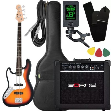 Kit Baixo canhoto Phx Jb4 Jazz Bass sunburst caixa amplificador borne