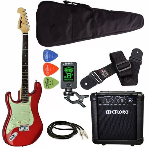 kit guitarra canhoto tagima mg32 vermelha cubo meteoro afinador capa