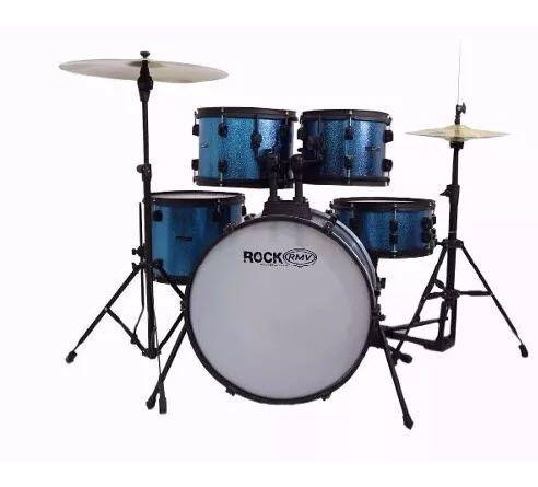 Bateria Rmv Rock One Bumbo 20 cor Azul + Pratos