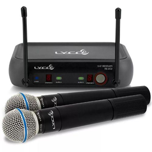 Microfone Sem Fio Duplo Lyco Vh202pro-mm Profissional