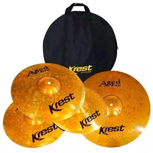 Kit set Pratos de Bateria Krest Aged Brass 14 16 20 + Bag Abset3