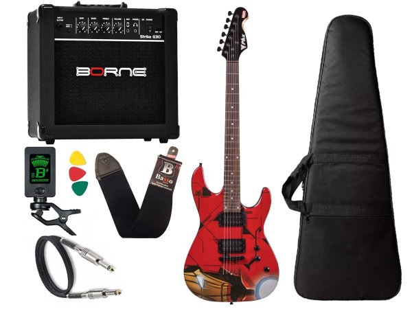 Kit Guitarra Marvel iron man homem ferro phx Cubo Borne