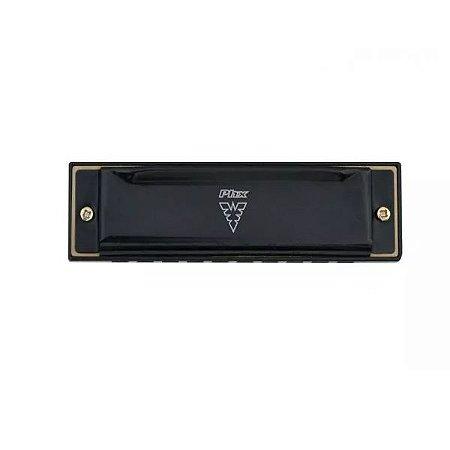 Gaita 10 Vozes harmonica Preta Afinação Do C Phx Le1020