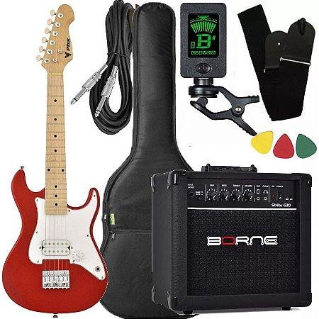 Kit Guitarra Criança Infantil Phx Isth 1/2 Vermelha caixa Borne