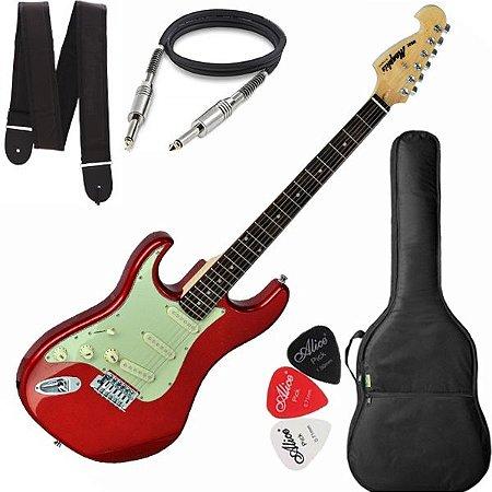 Guitarra Tagima Memphis Mg32 Canhoto vermelho metálico Capa