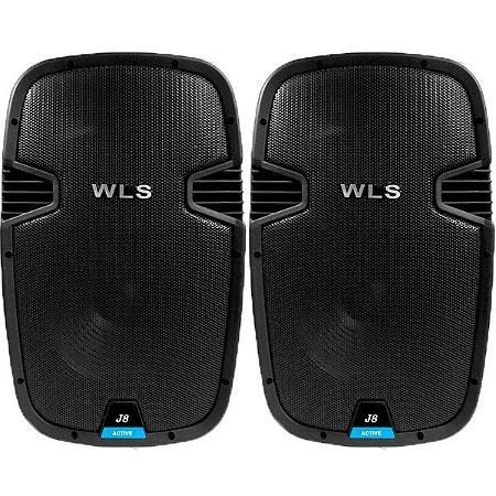 Kit Caixa Ativa e Passiva Wls J8 AF 8 Titanio USB Bluetooth