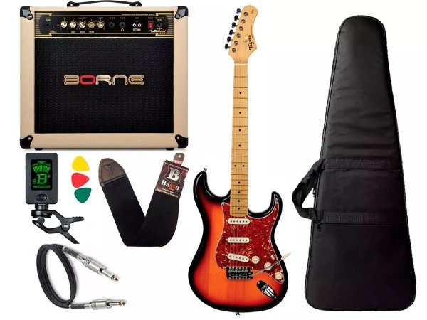 Kit Guitarra Tagima Tg530 Sunburst Cubo Borne Vorax 1050 w
