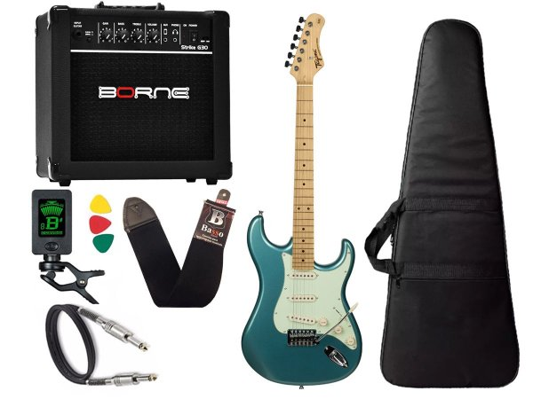 kit Guitarra Tagima TG 530 Woodstock Azul Cubo Borne G30