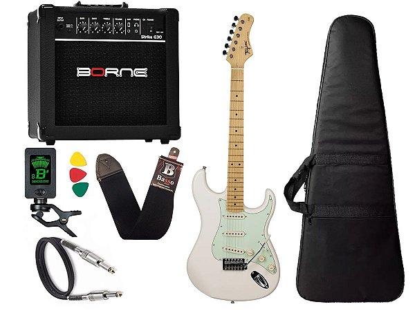 kit Guitarra Tagima TG 530 Woodstock Branco Cubo Borne G30