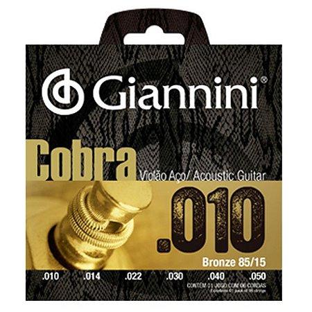 Encordoamento Cordas Giannini Violão Aço Cobra 010 GEEFLE