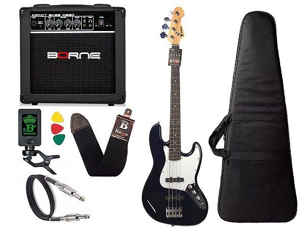 Kit Baixo Phx Jb4 Jazz Bass Azul caixa amplificador borne