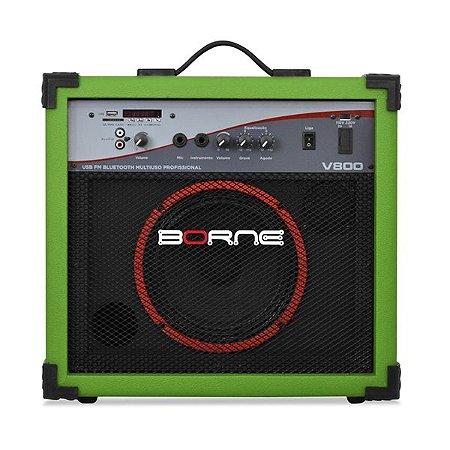 caixa multiuso borne v800 60w usb bluetoth fm verde