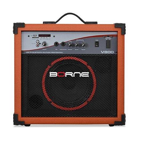 caixa multiuso borne v800 60w usb bluetoth fm laranja