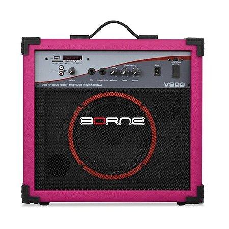 caixa multiuso borne v800 60w usb bluetoth fm rosa