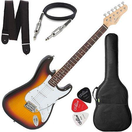 Guitarra Giannini Strato 3 Singles G100 Sunburst Branca +Bag