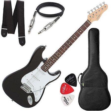 Guitarra Giannini Strato 3 Singles G100 Preta e Branca + Bag