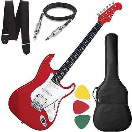 Guitarra Eagle STS 002 Stratocaster Vermelho Branco e brinde