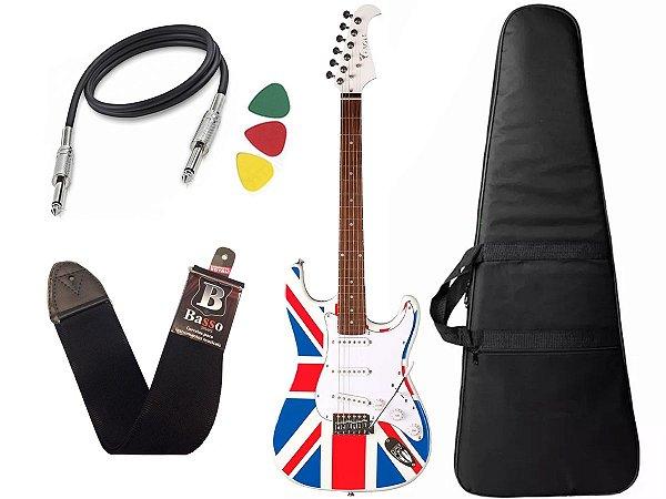 Kit Guitarra Eagle Sts001 Uk Inglaterra Capa Alça Regulada