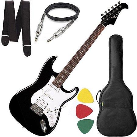 Guitarra Eagle STS 002 Stratocaster Preta Capa Cabo e Alça