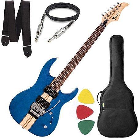 Guitarra Eagle EGT 61 Stratocaster Azul Capa Cabo e Alça