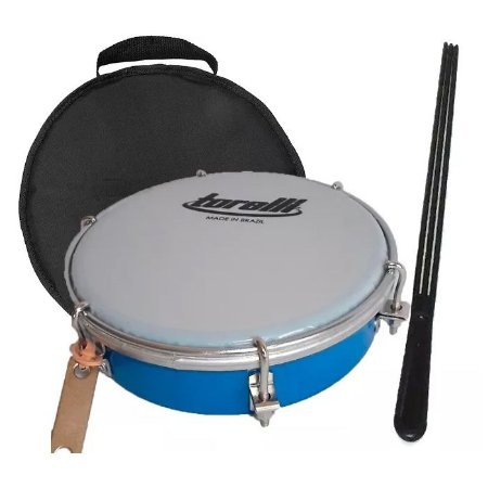 Tamborim Torelli Tt404 Cor Azul Pele Leitosa capa e baqueta