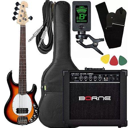 Kit Baixo Tagima Sunburst ativo caixa amplificador Borne