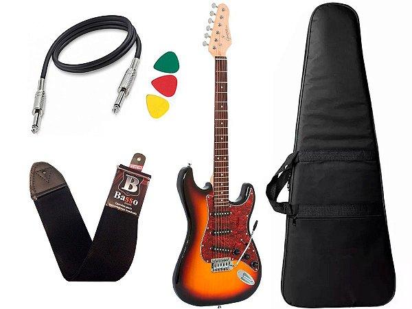 Kit Guitarra Giannini G100 Sunburst e Vinho Capa Cabo