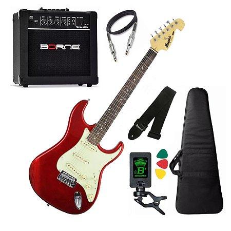 Kit Guitarra Tagima Memphis Mg32 Vermelho amplificador borne