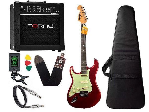 Kit Guitarra Canhoto Tagima Mg32 Vermelho amplificador borne