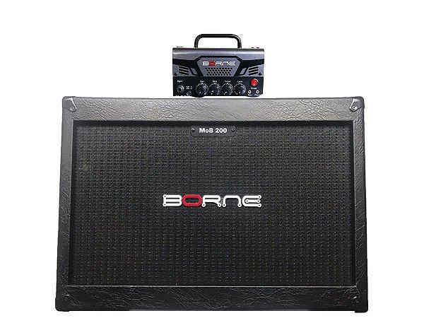 Cabeçote Borne Mob T30 caixa 2 falantes 12 2x12 mob200 chumbo Cinza