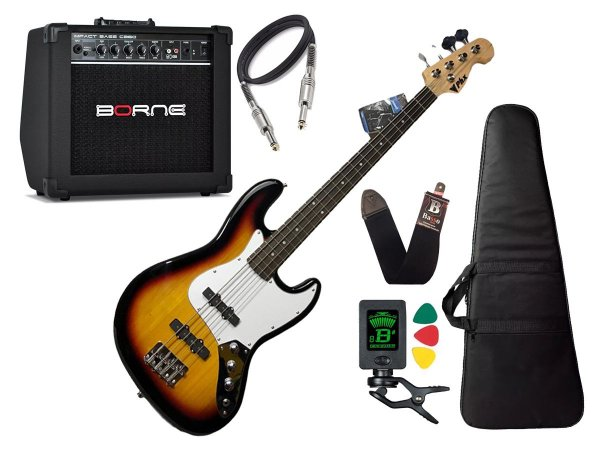 Baixo Phx Jb 4 Jazz Bass 4 Cordas Sunburst Caixa cubo Borne