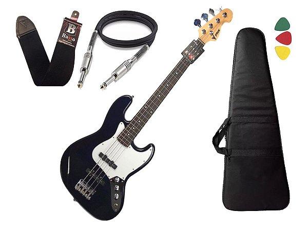Baixo 4 Cordas Phx Jb Jazz Bass Azul Escuro Marinho Bag Cabo