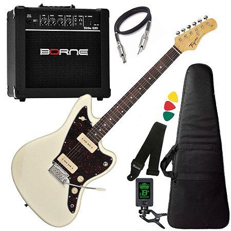 Kit Guitarra  Tagima Tw61 Woodstock Branco Amplificador Borne