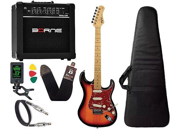 kit Guitarra Tagima TG 530 Woodstock Sunburst Cubo Borne