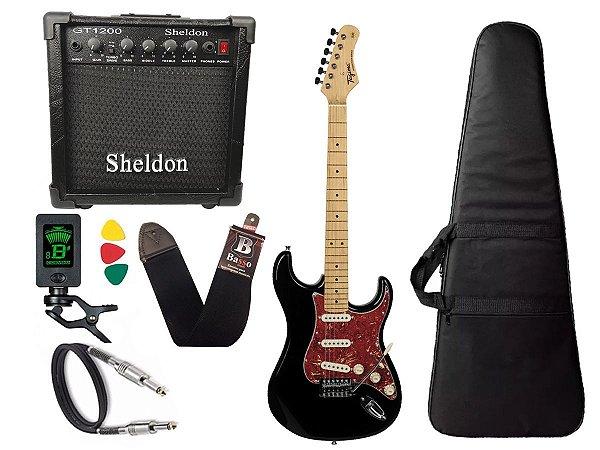 kit Guitarra Tagima TG 530 Woodstock Preto Cubo Sheldon